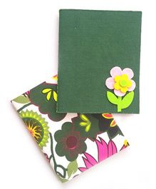 Two For Joy Pocket Canvas Diary Set Of 2 - Green Pink
