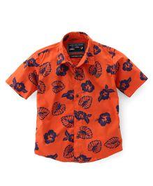 Jash Kids Half Sleeves Shirt Floral Print - Orange