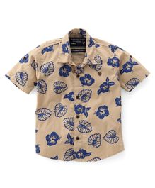 Jash Kids Half Sleeves Shirt Floral Print - Fawn