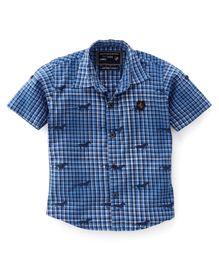 Jash Kids Half Sleeves Checks Shirt - Blue