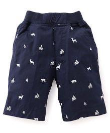 Jash Kids Three Fourth Pants Animal Print - Navy