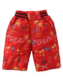 Jash Kids Three Fourth Pants Tree Print - Red