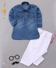 Babyhug Full Sleeves Denim Pathani Kurta And Pajama Set - Blue White