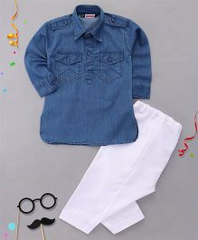 Babyhug Full Sleeves Denim Pathani Kurta And Pajama Set - Dark Blue White