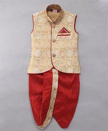 Babyhug Sleeveless Jacket And Dhoti Set - Fawn Red