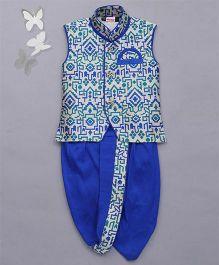 Babyhug Sleeveless Jacket And Dhoti Set - Blue