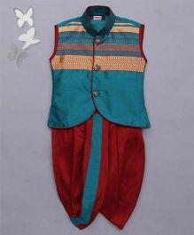Babyhug Sleeveless Jacket And Dhoti Set - Green & Red