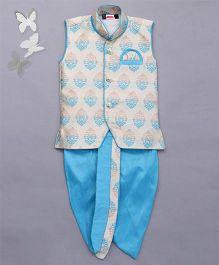 Babyhug Sleeveless Jacket And Dhoti Set - Turquoise Blue