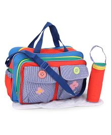 Mother Bag With Changing Mat And Bottle Holder Butterfly & Flower Embroidery - Multicolor