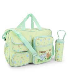 Mother Bag And Bottle Holder Elephant Embroidery - Green