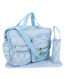 Mother Bag With Changing Mat And Bottle Holder Dinosaurs Embroidery - Blue