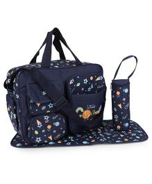 Mother Bag With Changing Mat And Bottle Holder Little Champ Embroidery - Navy Blue