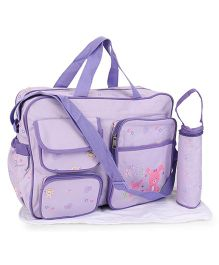 Mother Bag With Changing Mat And Bottle Holder Rabbit Embroidery - Purple