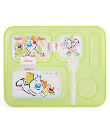 Pratap Ultra Transparent Plate With 5 Compartment - Green
