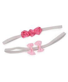 Funkrafts Little Rose & Bow Set Of 2 Headband - Pink