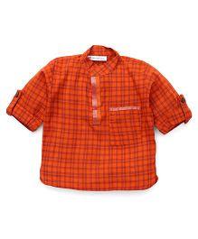 Eight Thousand Miles Classic Checks Kurta For Boys - Orange