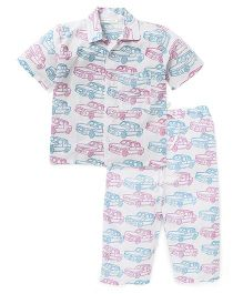 Eight Thousand Miles Half Sleeves Night Suit Car Print - White