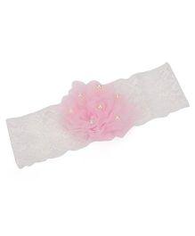Funkrafts Floral Headband - Pink & White