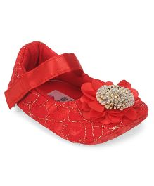 Ivee Baby Pretty Flower Soft Sole Shoes - Red