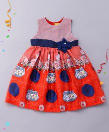 Yellow Duck Sleeveless Frock Printed With Net Yoke And Applique - Red