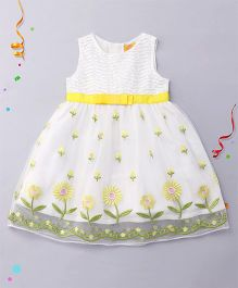 Yellow Duck Sleeveless Frock With Sequins & Floral Embroidery - White Lemon
