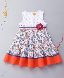 Yellow Duck Sleeveless Frock Printed With Floral Applique - Navy Red White