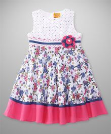 Yellow Duck Sleeveless Frock Printed With Floral Applique - Navy Pink White
