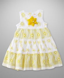 Yellow Duck Sleeveless Frock With Floral Print - Yellow