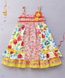 Yellow Duck Singlet Floral Print Frock - Red Multicolor