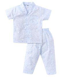 Teddy Half Sleeves Night Suit Allover Print - Light Blue