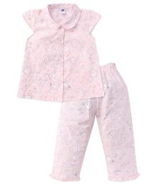 Teddy Cap Sleeves Night Suit Allover Print - Light Pink