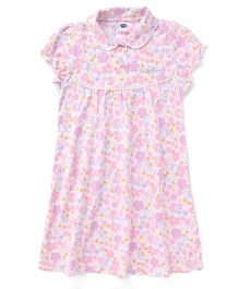 Teddy Short Sleeves Night Gown Allover Floral Print - Light Pink
