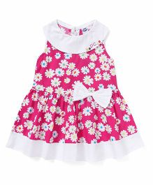 Teddy Boat Neck Frock Floral Print - White & Pink