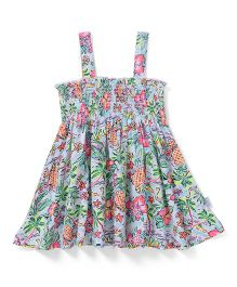Teddy Singlet Frock Allover Print - Multicolor
