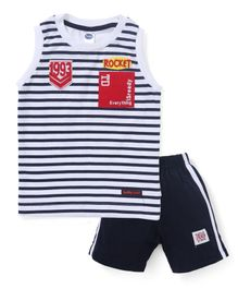 Teddy Sleeveless Striped T-Shirt & Shorts Set - Black
