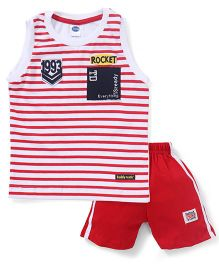 Teddy Sleeveless Striped T-Shirt & Shorts Set - Red