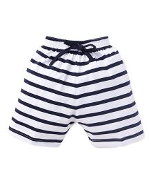 Teddy Striped Shorts - White & Navy Blue