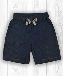 Pranava Stripe Bow Applique Denim Organic Cotton Shorts - Denim Blue