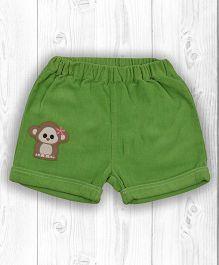 Pranava Monkey Applique Organic Cotton Shorts - Kiwi Green