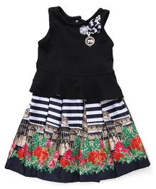 Little Kangaroos Short Sleeves Top And Plated Skirt With Stripe Print - Black White