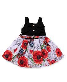 Little Kangaroos Singlet Party Wear Frock With Belt Floral Print - Black Red
