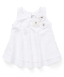 Little Kangaroos Sleeveless Top With Floral Applique - White