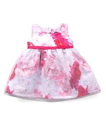 Little Kangaroos Sleeveless Regular Neck Printed Frock - Pink