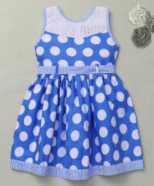 Enfance Polka Dotted Casual Dress Along With Knot Belt - Blue