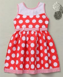 Enfance Polka Dotted Casual Dress Along With Knot Belt - Peach