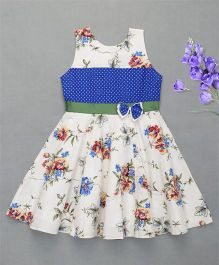 Enfance Pretty Casual Dress With Bow Attached - Blue & Offwhite
