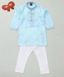 Enfance Soft Jacquard Silk Kurta & Churidar Set - Sky Blue