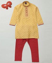 Enfance Kurta & Churidar For Boys - Yellowish Brown & Red