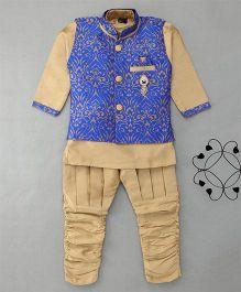 Enfance Poly Silk Kurta Pyjama Set With Self Print Jacket - Royal Blue & Gold