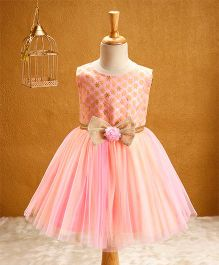 Babyhug Sleeveless Party Wear Dress Bow Design - Peach